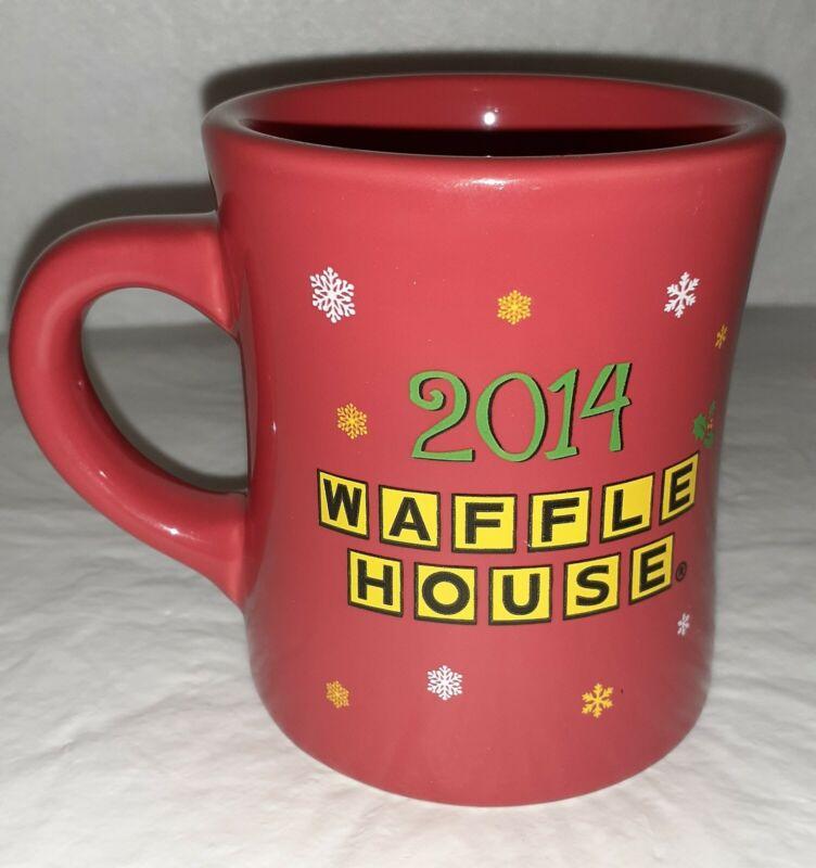 Waffle House 2014 Restaurant Style Red Coffee Mug Holiday Themed w/Snowman