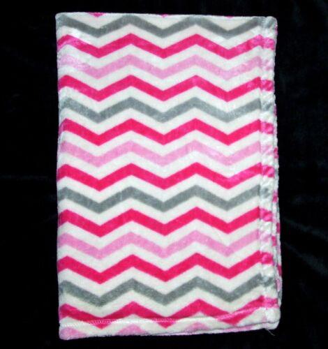 "Baby Starters White Pink Grey Chevron Zigzag Blanket Security Lovey 30x40"""