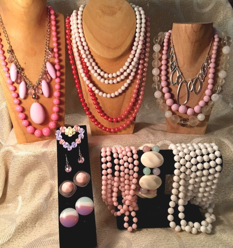 PINK & PASTEL PLASTIC Jewelry Lot •Vintage-Now• Necklaces*Bracelets*Earrings a30