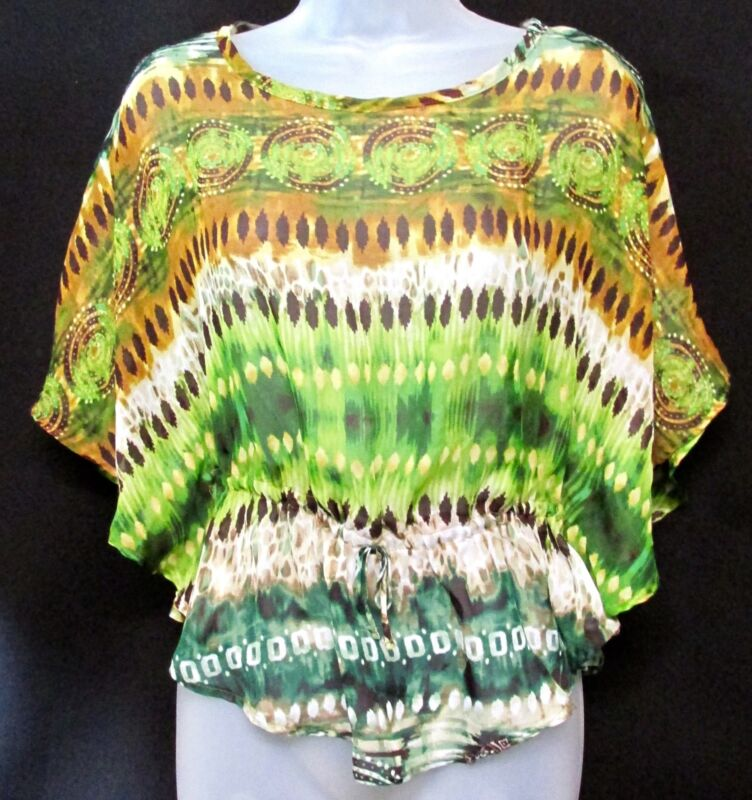 Knit works, Sheer, w/wing sleeves, layer, youth XL, Women's small, Green, Boho