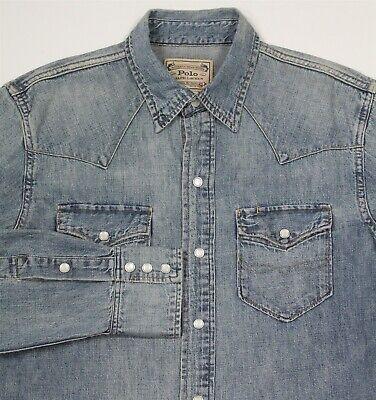 POLO Ralph Lauren Denim Slim Repaired Western Indigo Distressed Shirt~ Small