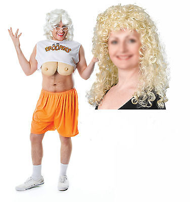Droopers Hooters Waitress Mens Stag Fancy Dress Outfit + Blonde Curley - Droopers Fancy Dress Kostüm