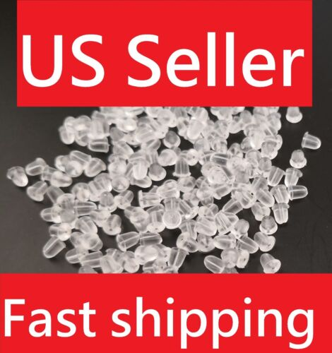 USA 200PC Heavy Duty Rubber Earring Backs Sleeves Holders Stoppers Nuts Silicone