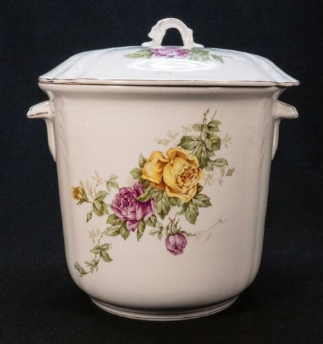 Antique Buffalo Pottery Jardiniere with Cover Roses Yellow & Pink Signed