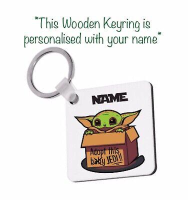 Personalised Baby Yoda Inspired Keyring Tv Star Wars Fan Mandalorian Gift