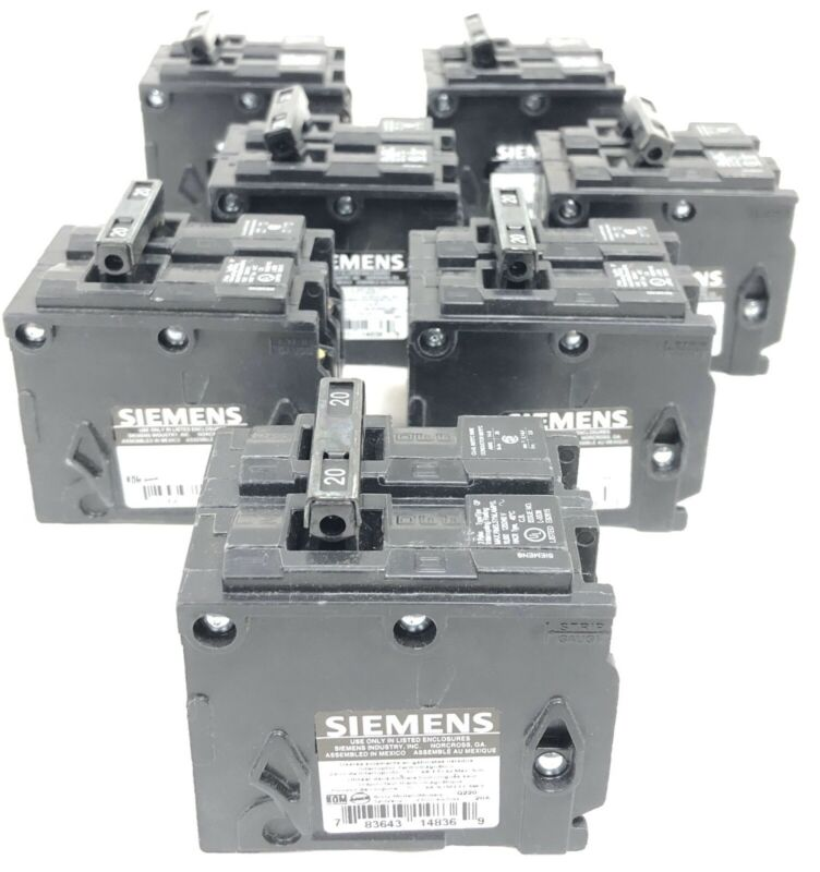 7 Siemens Q220 Circuit Breakers New Open Box 2-Pole 120/240V 60 Hz 20A