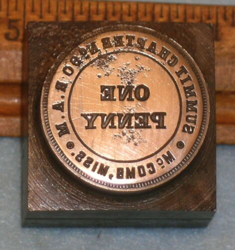 1908 MCCOMB MS Summit Chapter 90 RAM MASONIC PENNY Stamping Die * MC Lilley