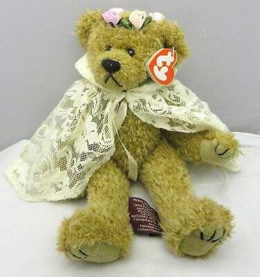 """TY Beanie Baby Buddy Eve Brown Bear & Lace Cape and Rose Crown w/Tag 1993 12"""""""