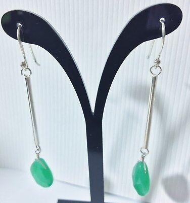 Sterling Green Jade Tear Drop Dangle Earring, Tear Drop Jade Dangle Earrings