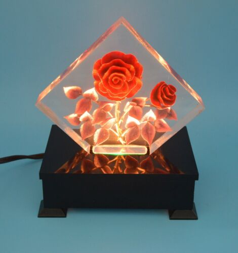 Table Lamp/ Night Light Sculpture Flowers in Plexiglass Resin on Plastic Base