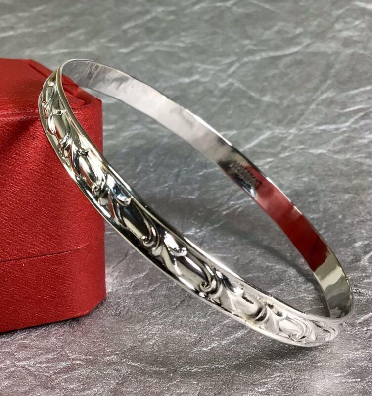 Vintage Danecraft Sterling Silver Lily Design Bangle Bracelet Fine Jewelry