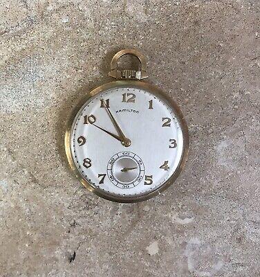 Vintage Hamilton Pocket Watch 10k Yellow Gold 23 Jewels Open Face RUNS