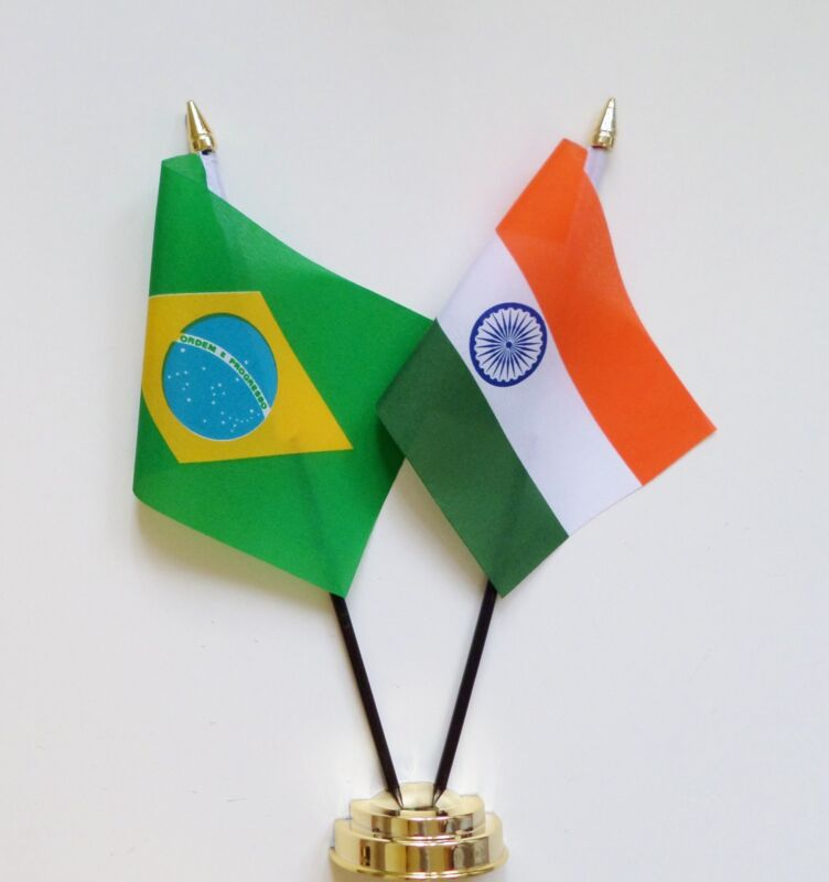 Brazil & India Double Friendship Table Flag Set