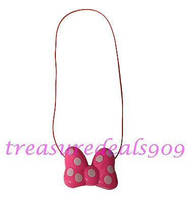 Minnie Mouse LED Light Up Pink Bow Necklace Party Flashing Blinking Halloween](Blinking Necklace)