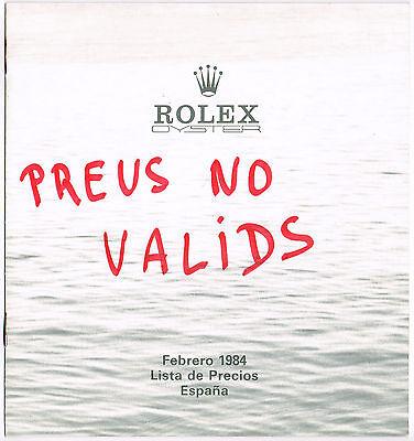 ROLEX Vintage 1984 Price List Spain 16800 16550 16660 16750 Daytona 6265 6263