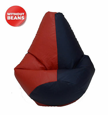 Red And Navy Blue Bean Bag Without Beans XXL Leatherette Chair Cover  - Navy Bean Bag