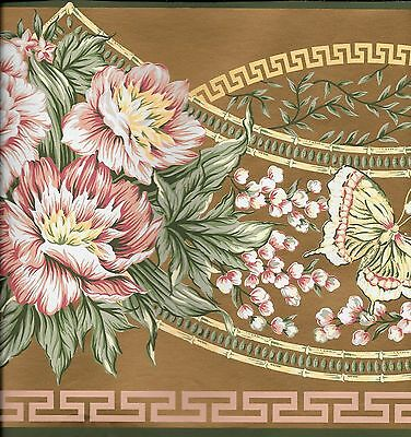 Victorian Pink Floral with Butterflies on Gold WALLPAPER BORDER