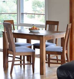 5 Piece Solid Timber Dining Setting | Square Table & 4 Chairs