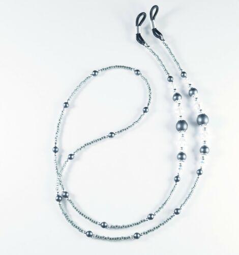 Beaded Eyeglass Chain/Holder~Classic Dark Grey and Silver~ Swarovski Crystal