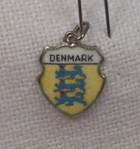 Vintage-REU-Sterling-Enamel-Denmark-Coat-of-Arms-Shield-Charm-New