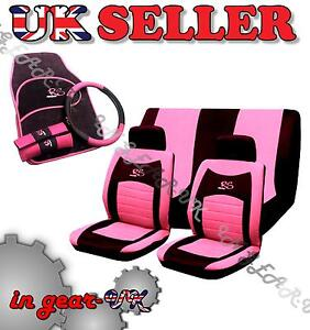 15pc Girly RACING Car Seat Cover Set Wheel Glove Covers
