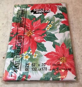 Vintage Christmas  Tablecloth  Vinyl Oblong 52 x 70 in.