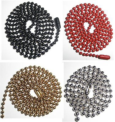 2 - Dog Tag CHAINS, Gold -Silver -Black or Red NECKCHAIN or KEY CHAIN #3 ball