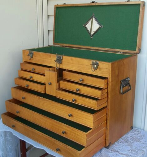 Vintage Oak Wood Machinist Tool Chest / Jewelry Box ~ 10 Drawers & Lift Up Lid