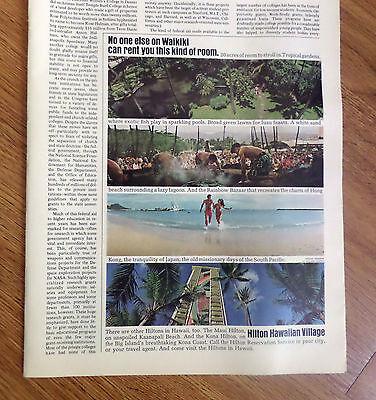 1972 Hilton Hawaiian Village Hotels Hawaii Ad