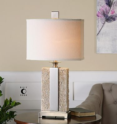 "29"" ANTIQUED STONE IVORY TEXTURED FINISH BRUSHED NICKEL TABLE BUFFET LAMP"