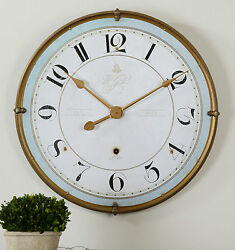 HOTEL XXL 32 ANTIQUED METAL ROUND WALL CLOCK LARGE NUMBERS AGED FACE UTTERMOST