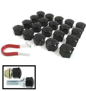 20 Car Wheel Nut / Bolt Head 17mm Black Covers Caps Plastic Hexagonal Protectors