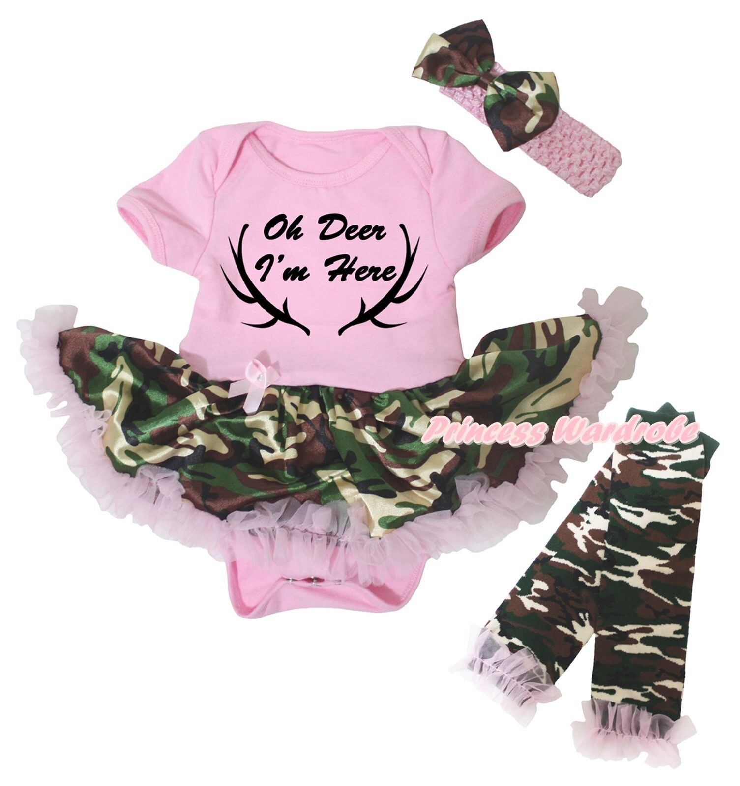 Baby Girl Clothes  Oh Deer  Baby Girl Outfit  Baby Girl  Deer Shirt  Country Girl Baby  Headband Leg Warmers  One Piece Set