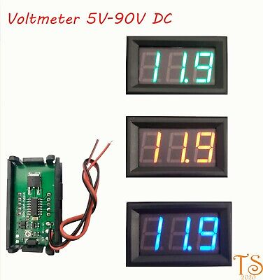 Led Digital Display Voltmeter Car Motorcycle Voltage Gauge Panel Meter 5v To 90v