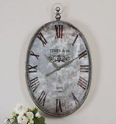 ARGENTO XXL 35 ANTIQUE STYLE POCKET WATCH METAL FRAME WALL CLOCK UTTERMOST