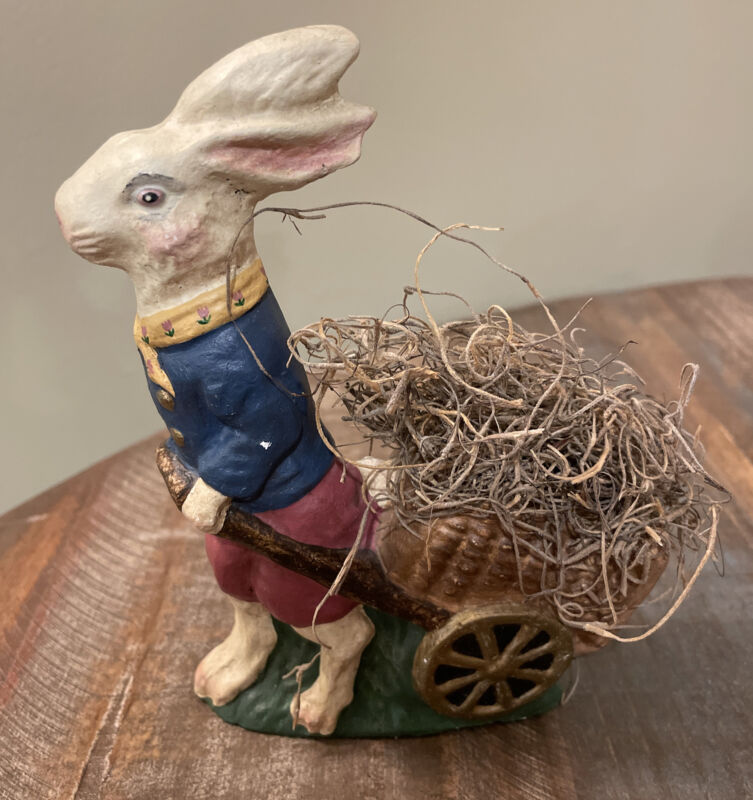 Vintage Easter Collectible Rabbit Figurine Pulling a Wagon
