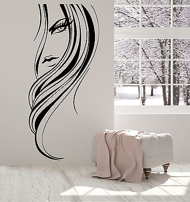 Vinyl Wall Decal Beautiful Girl Face Long Hairstyle Hair Salon Stickers (1620ig)