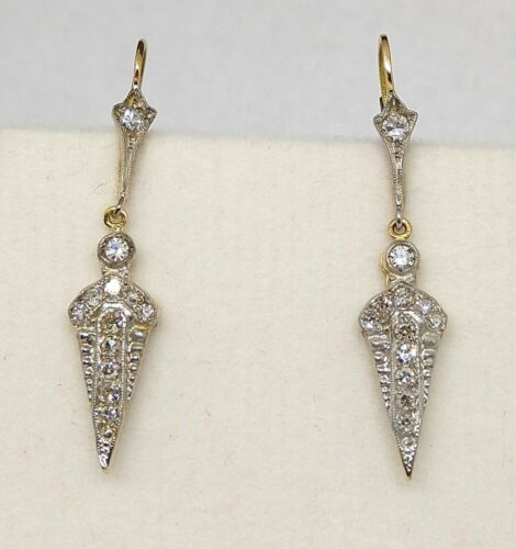 Antique 18kt Gold Drop Earrings with 0.70