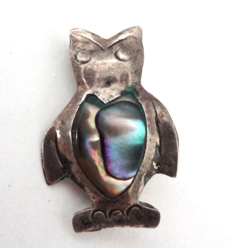 Vintage Mexico Silver Owl Pin Abalone Shell Inlay Brooch Marked