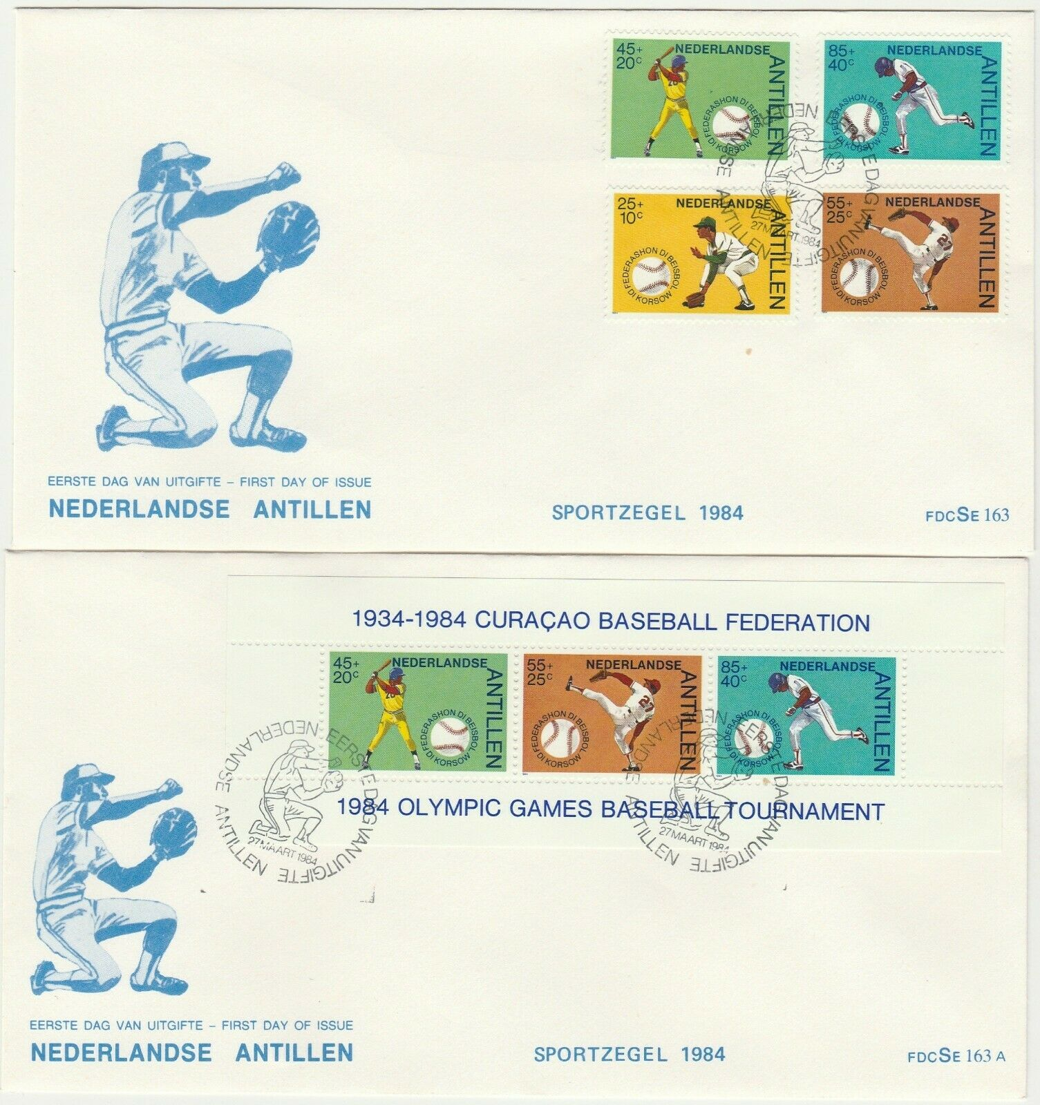Netherlands Antilles 2 x FDC 1984 BASEBALL better cachet