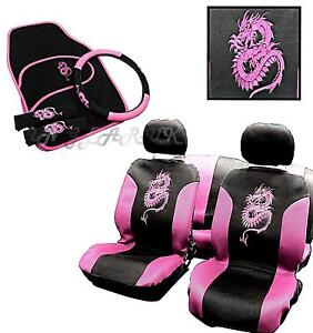 car-seat-cover-set-covers-steering-wheel-glove-4pc-mats-PINK-dragon-13PC-NO-P-P