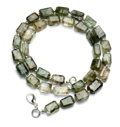 "Natural Gem Brazil Green Rutile Quartz Faceted Nugget Beads Necklace 16"" 141Cts."
