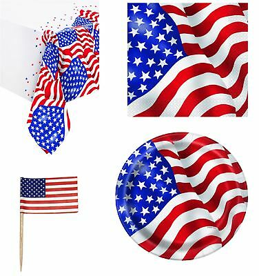 USA tableware flag party decorations decor supplies 4th July