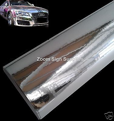 2M x 750MM SILVER MIRROR CHROME WRAPPING VINYL BUBBLE FREE STICKY BACK PLASTIC