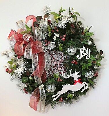 (REINDEER CHRISTMAS EVERGREEN WREATH HOLIDAY JOY XMAS HANDMADE GIFT PRESENT NEW)