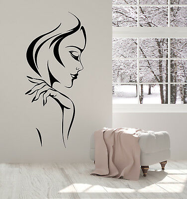 Vinyl Wall Decal Beautiful Woman Face Makeup Lady Girl Hairstyle Stickers 2344ig