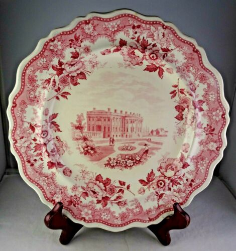 """Red/Pink Jackson Warranted Rare Historical Transfer Plate """"The Presidents House"""""""