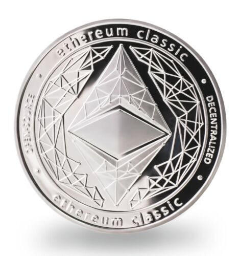 Ethereum Classic Silver Plated Coin ETH Commemorative Collectible with Hard Case