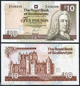escocia royal bank of scotland 10 pounds libras 2001 pick 353 b sc unc ebay. Black Bedroom Furniture Sets. Home Design Ideas