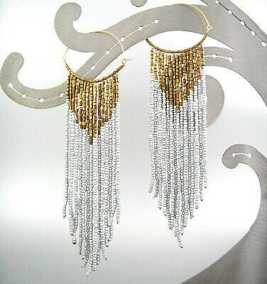 Color Beaded Chain Dangling Hoop Earrings Long Hook Fashion Women Gift ()